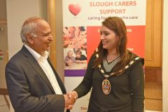 Ramesh Kukar, CEO, Slough Council for Voluntary Service with the mayor of slough- Carers week launch night at the Copthorne Hotel hosted by Slough Carers Support - Photo: Emma Sheppard - 13/06/17